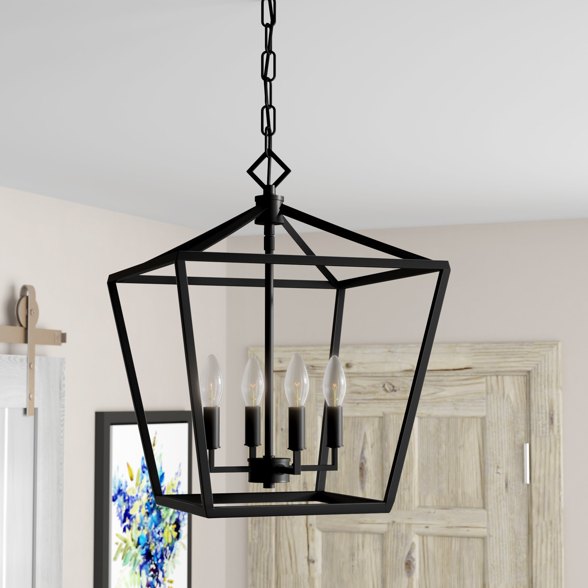 Varnum 4-Light Lantern Pendants for Famous Poisson 4-Light Lantern Pendant