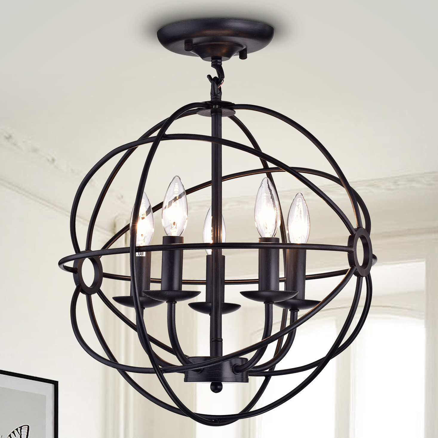 Verlene Foyer 5-Light Globe Chandeliers inside Well-known 5-Light Globe Chandelier