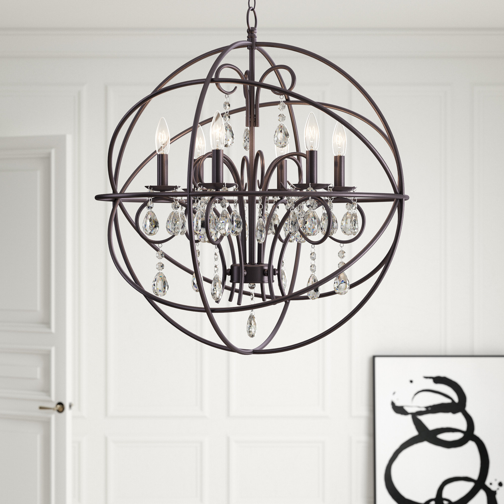 Verlene Foyer 5 Light Globe Chandeliers Intended For Favorite Alden 6 Light Globe Chandelier (View 14 of 25)