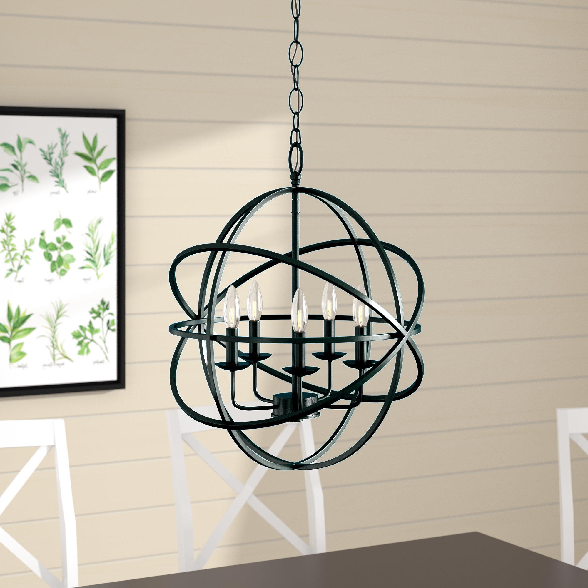 Verlene Foyer 5-Light Globe Chandeliers regarding Popular Hankinson 5-Light Globe Chandelier
