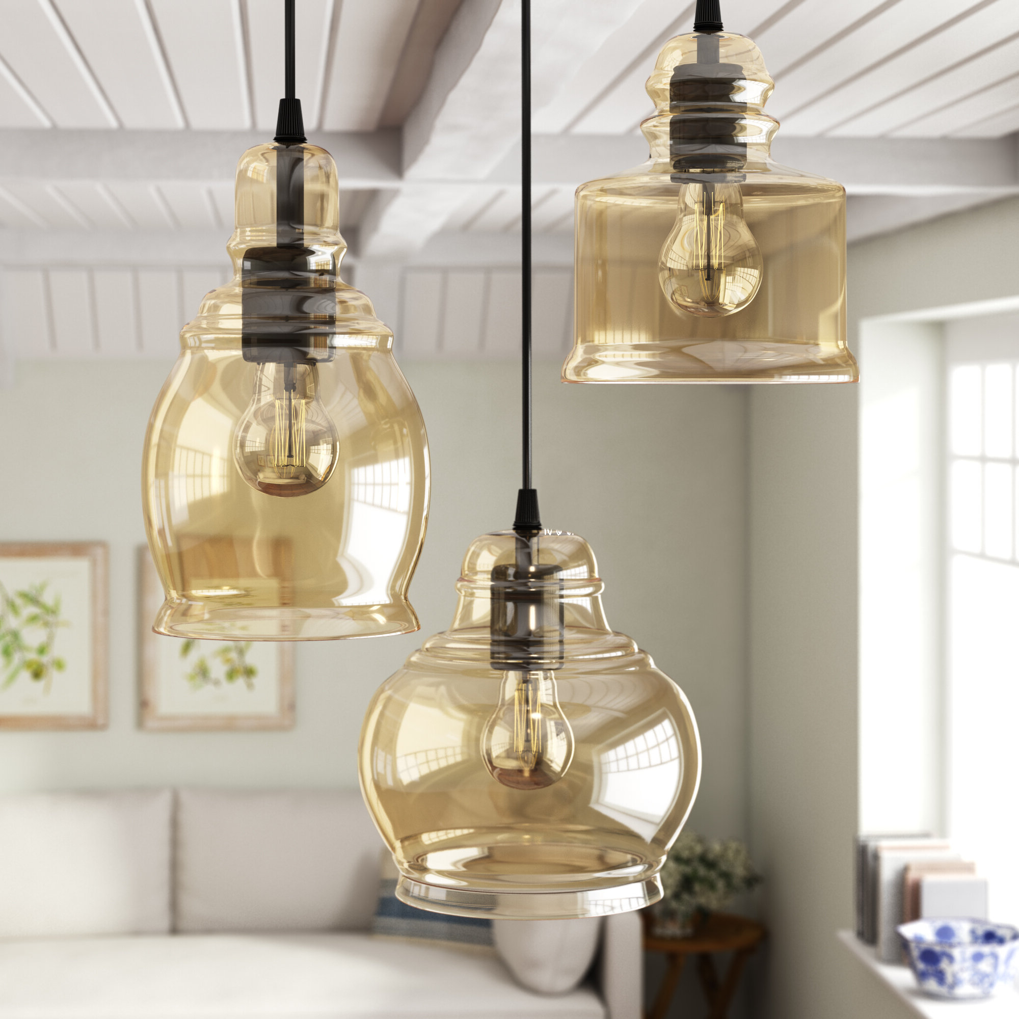 Vernice 3-Light Cluster Bell Pendant throughout Well known Pruett Cognac 3-Light Cluster Bell Pendants