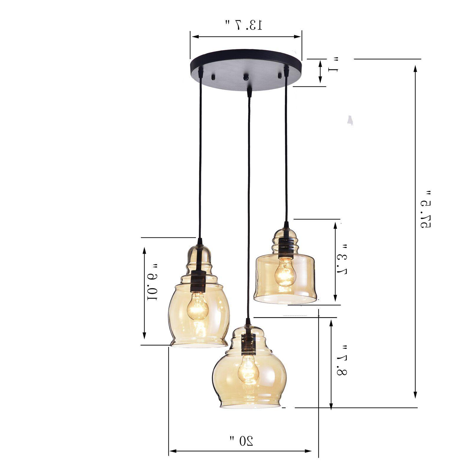 Vernice 3-Light Cluster Bell Pendants inside Latest Three Posts Vernice Vintage 3-Light Cluster Bell Pendant In