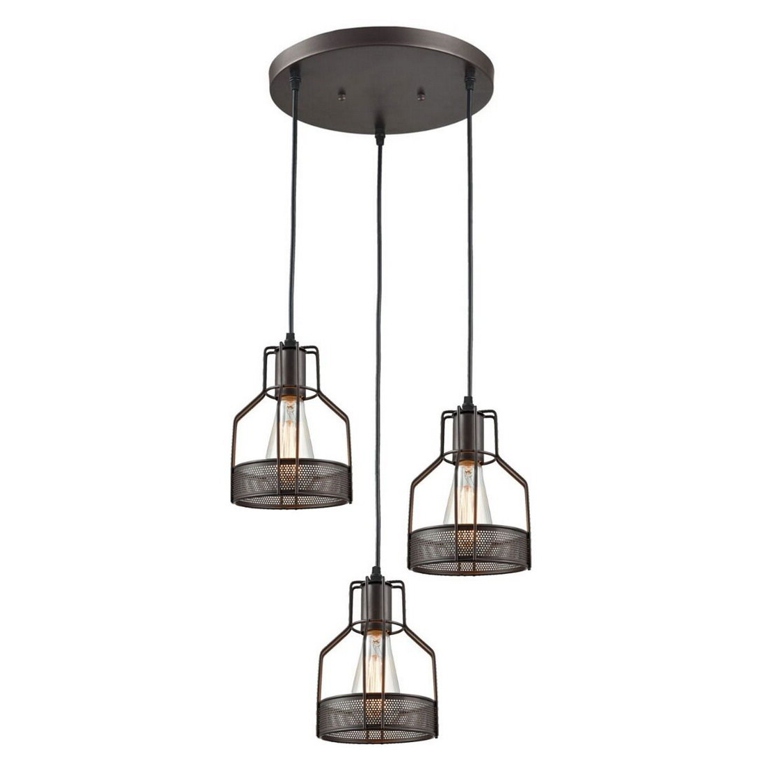 Vernice 3-Light Cluster Bell Pendants intended for Newest Hoff 3-Light Cluster Pendant