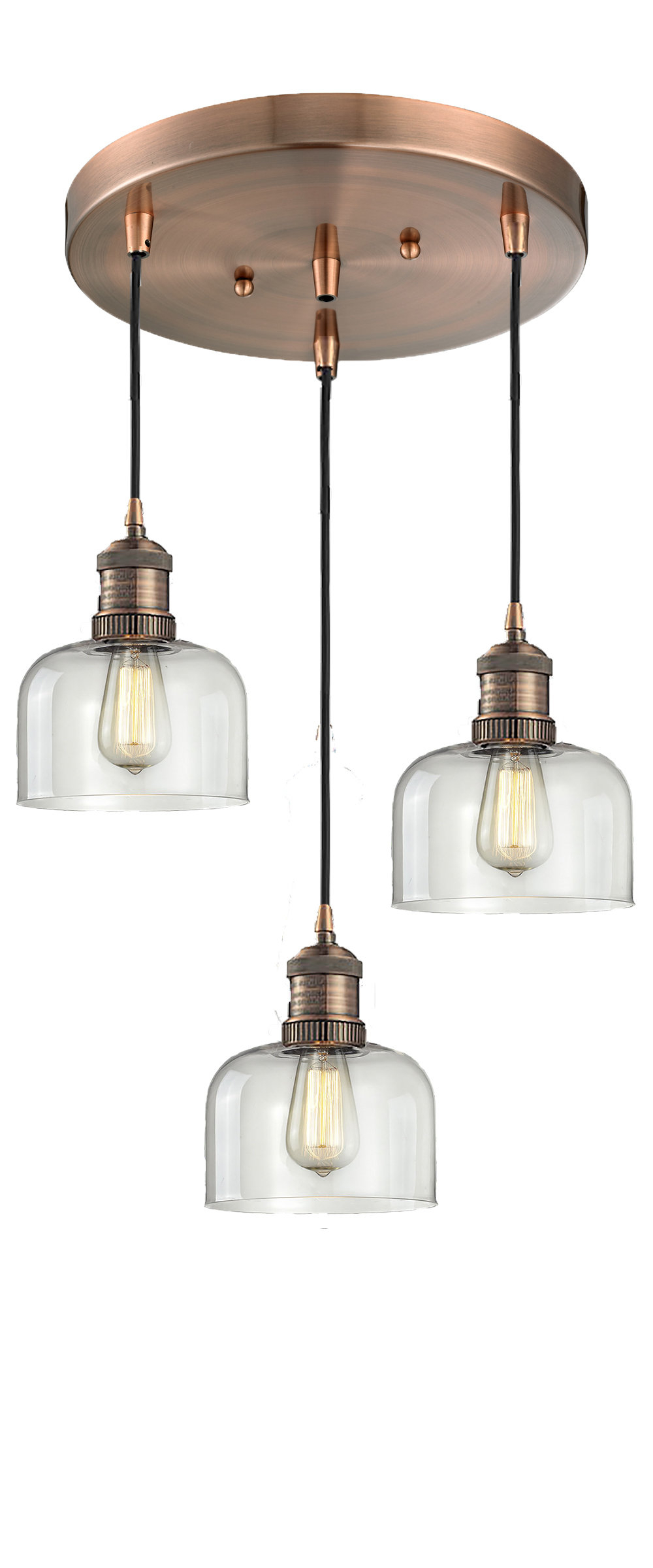 Vernice 3-Light Cluster Bell Pendants throughout 2019 Milbourn Glass Bell 3-Light Pendant