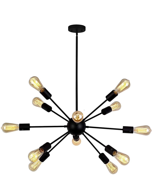 Vinluz 12 Light Contemporary Sputnik Chandelier Black Mid Century Modern  Ceiling Light Fixtures Hanging Rustic Industrial Pendant Lighting For  Kitchen Within Recent Vroman 12 Light Sputnik Chandeliers (View 9 of 25)