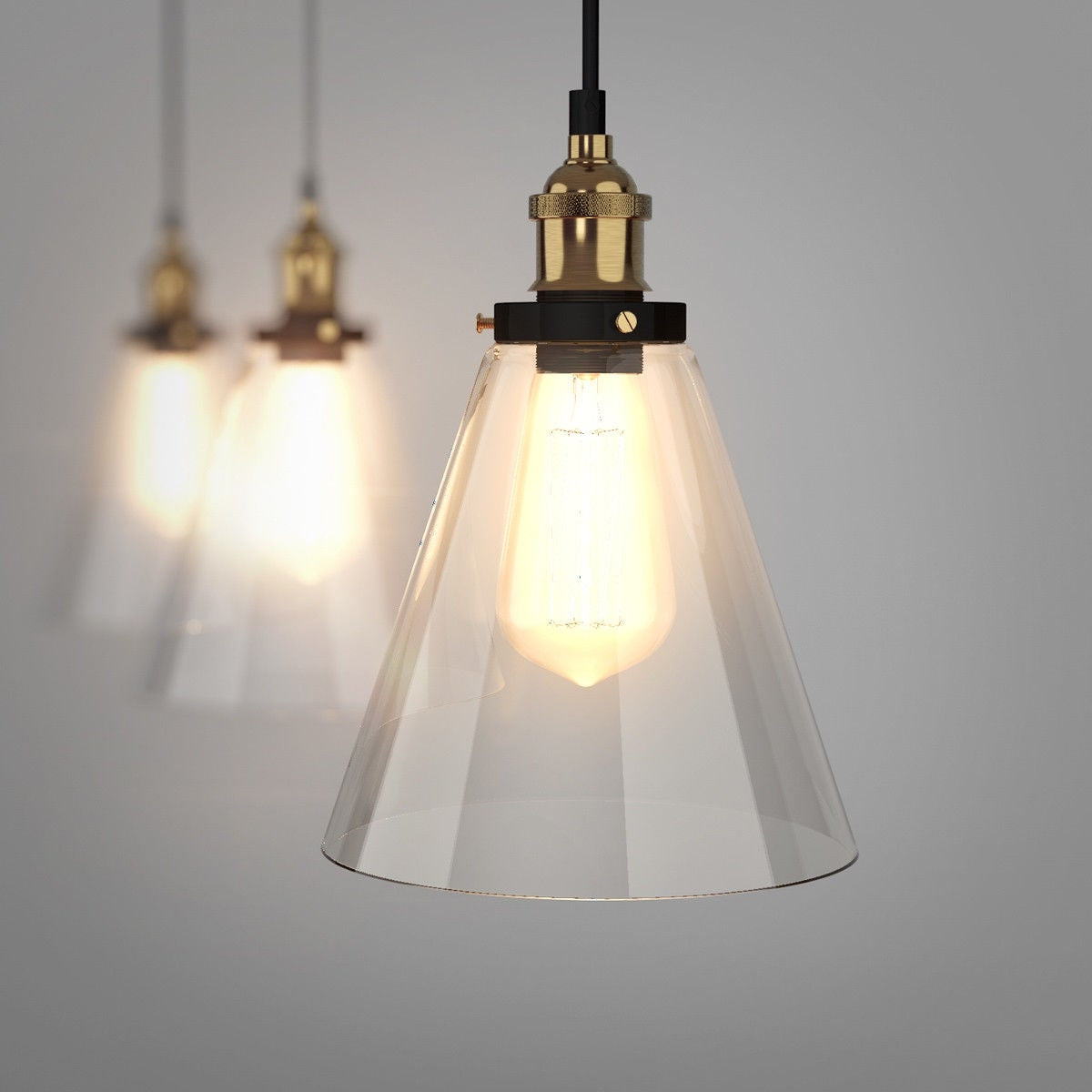Vintage Edison 1 Light Bowl Pendants For Well Liked Gymax Vintage Style Industrial Edison Ceiling Pendant Glass Hanging Light  1 Light Bulb – As Pic (Gallery 8 of 25)