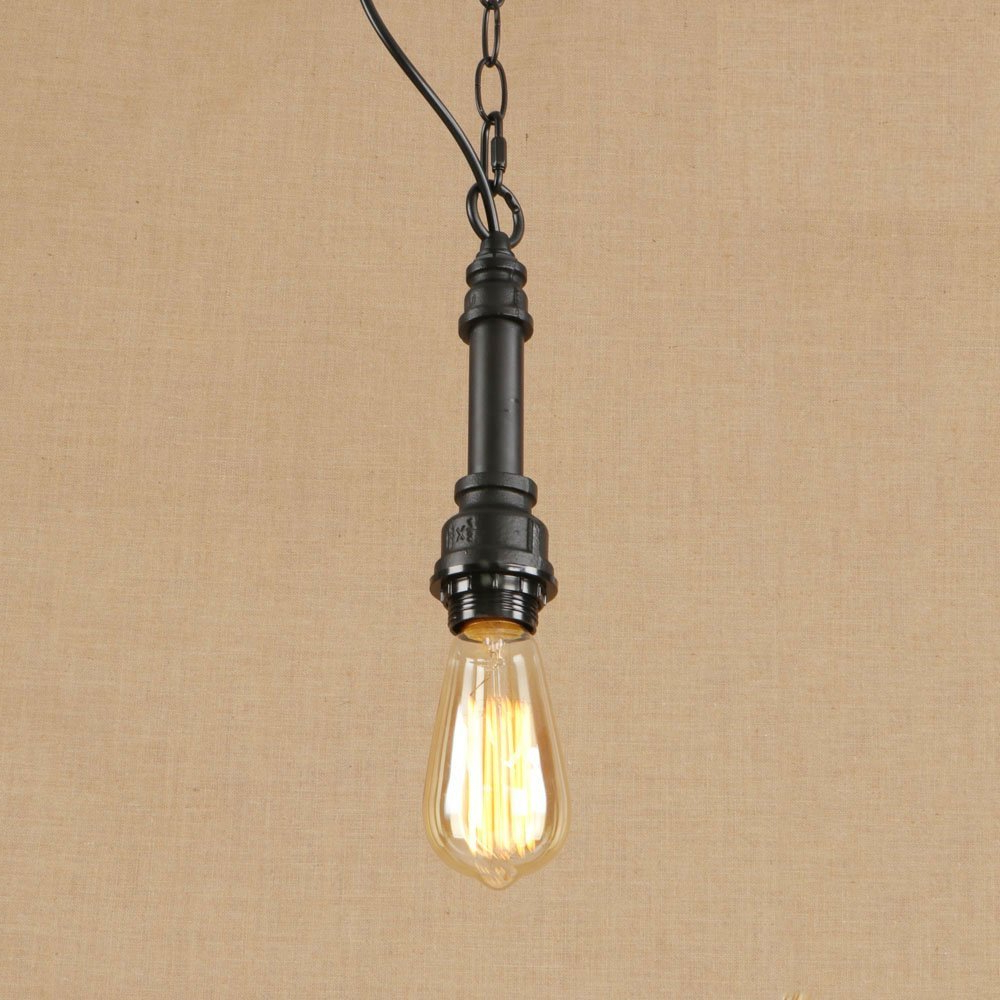 Vintage Edison 1-Light Bowl Pendants regarding Best and Newest Straight Water Pipe Bar Single Hanging Chain Pendant Light