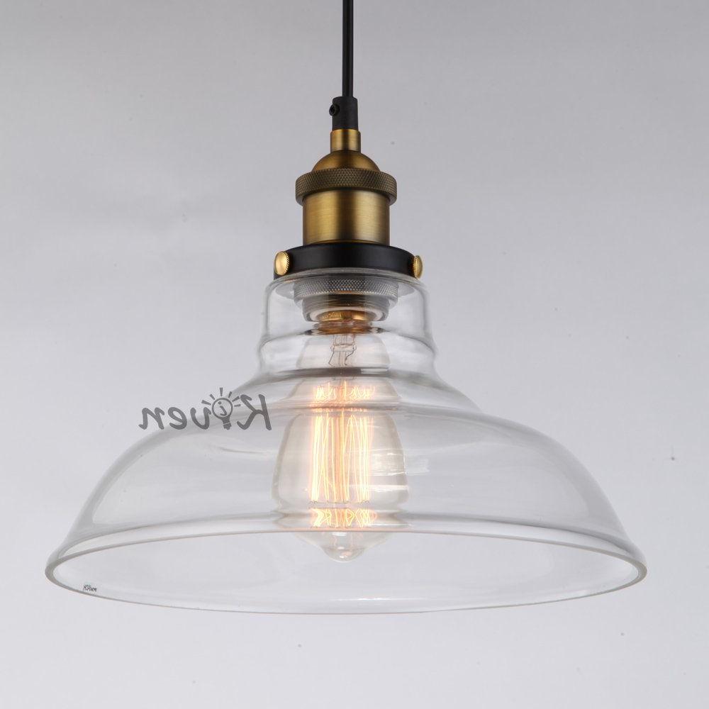 Vintage Edison 1-Light Bowl Pendants within Well-known Kiven® Vintage Industrial 1-Light Glass Bowl Of Vintage