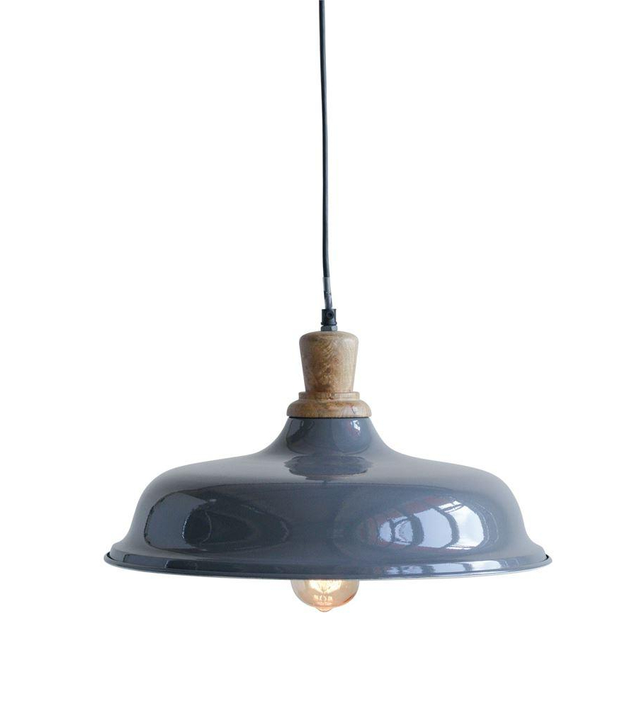 Vintage-Industrial, Barn-Style Metal And Wood Pendant Light within Favorite Stetson 1-Light Bowl Pendants