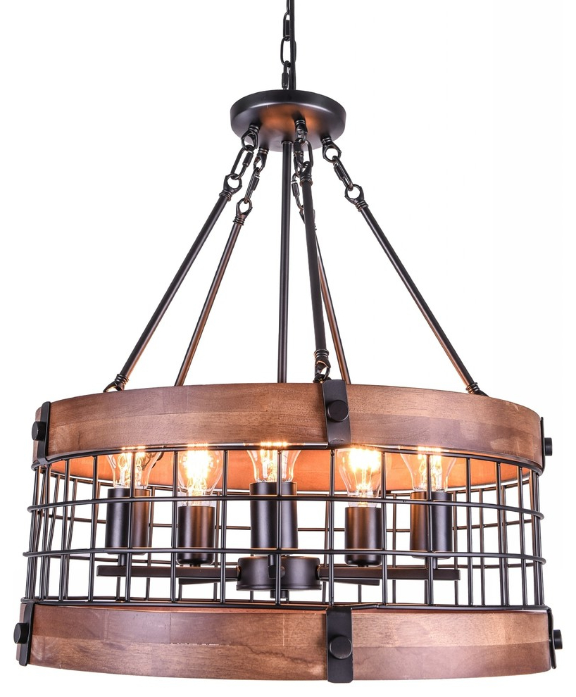 Vintage Industrial Dome Wood Chandelier With 5 Lamps With Preferred Hayden 5 Light Shaded Chandeliers (Gallery 17 of 25)