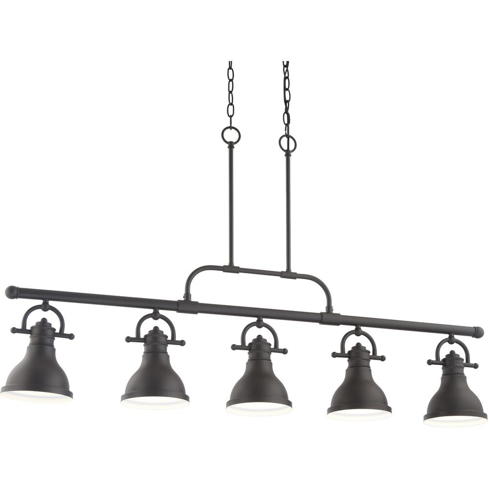 Volume Lighting 5 Light Integrated Led Indoor Foundry Bronze Linear Kitchen  Island Hanging Pendant With Bell Shaped Bowls Pertaining To Most Popular Novogratz Vintage 5 Light Kitchen Island Bulb Pendants (View 24 of 25)