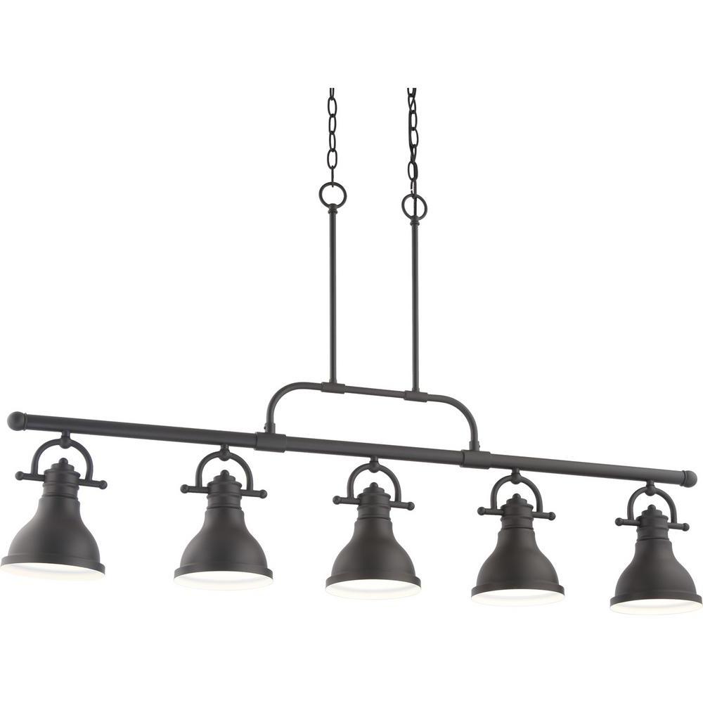 Volume Lighting 5-Light Integrated Led Indoor Foundry Bronze Linear Kitchen  Island Hanging Pendant With Bell-Shaped Bowls pertaining to Most Popular Novogratz Vintage 5-Light Kitchen Island Bulb Pendants