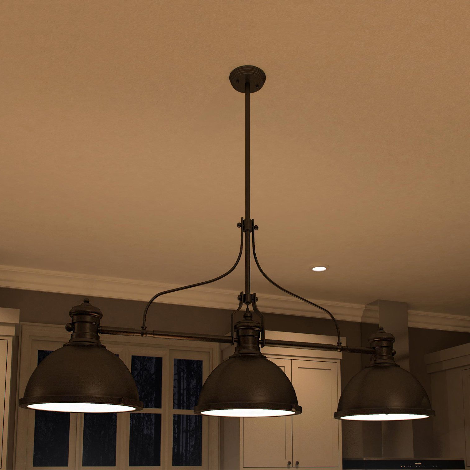 Vonn Lighting Dorado 53-Inches Linear Hanging Industrial throughout Trendy Fredela 3-Light Kitchen Island Pendants