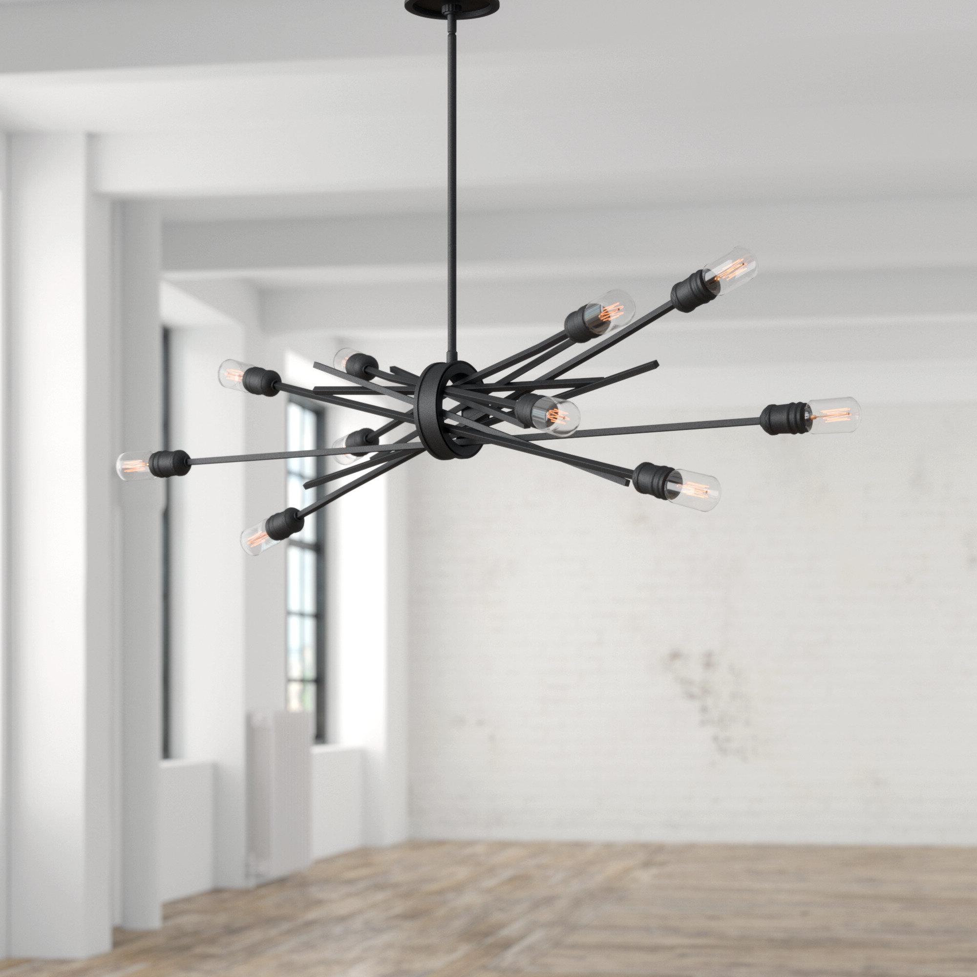 Vroman 12 Light Sputnik Chandeliers In Widely Used Byler 10 Light Sputnik Chandelier (Gallery 21 of 25)