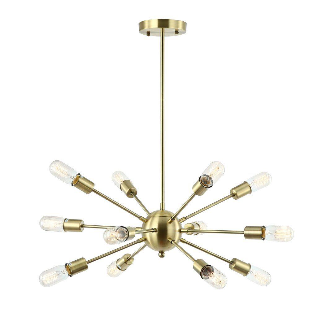 Vroman 12 Light Sputnik Chandeliers With 2020 Meridia Sputnik Style 12 Light Chandelier In  (View 13 of 25)