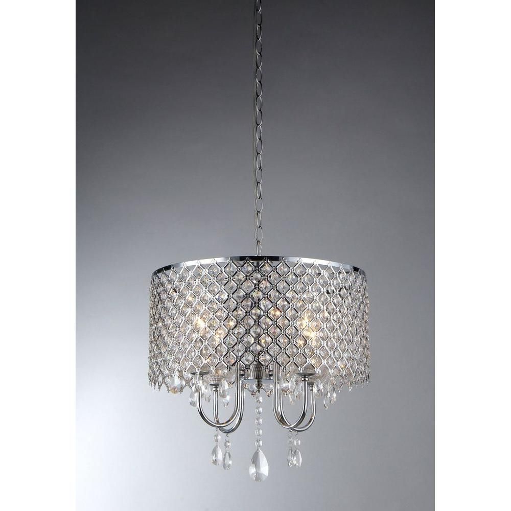 Warehouse Of Tiffany Angelina 4 Light Chrome Crystal In Most Popular Aurore 4 Light Crystal Chandeliers (View 13 of 25)