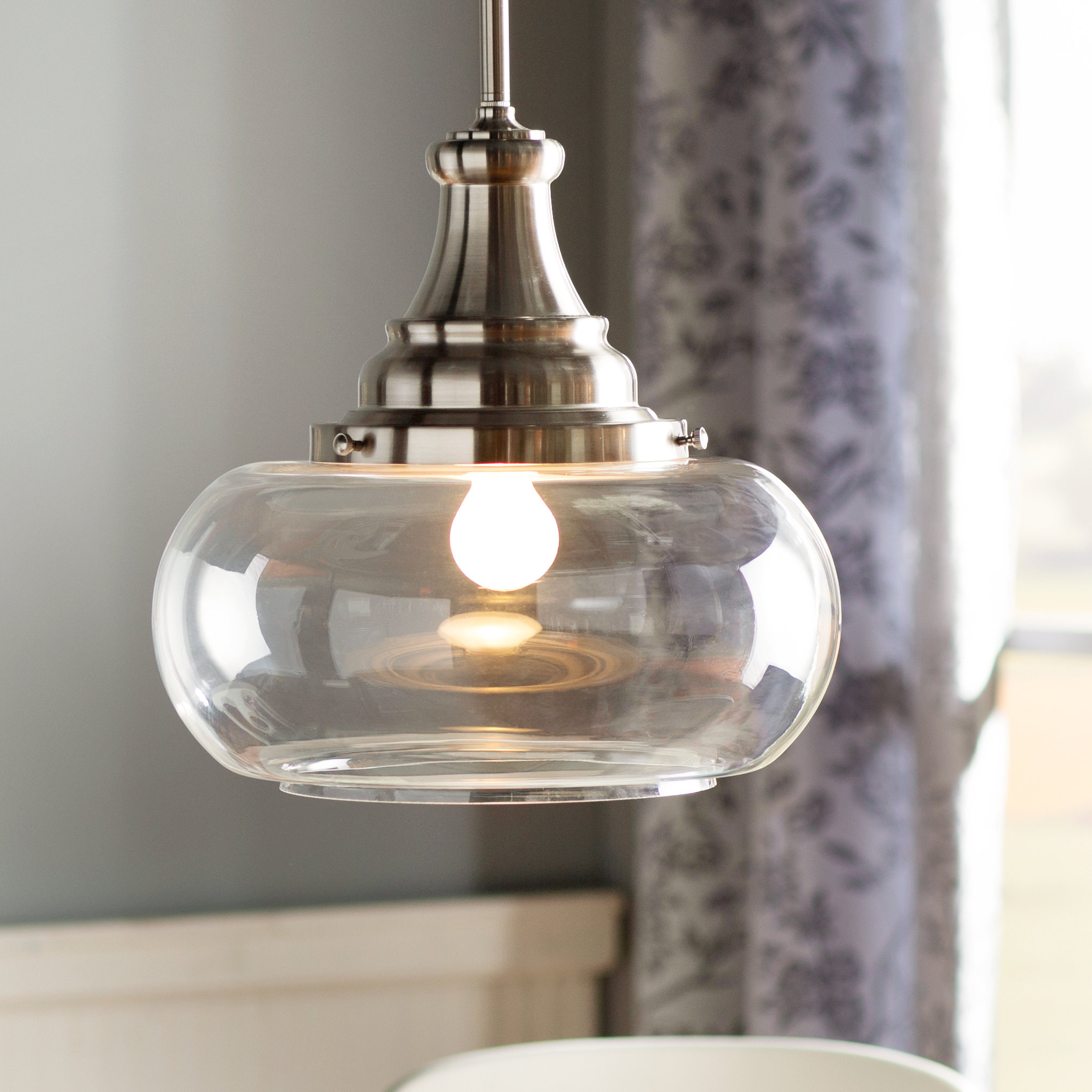 Well Known 1 Light Single Dome Pendant In Akakios 1 Light Single Bell Pendants (View 14 of 25)