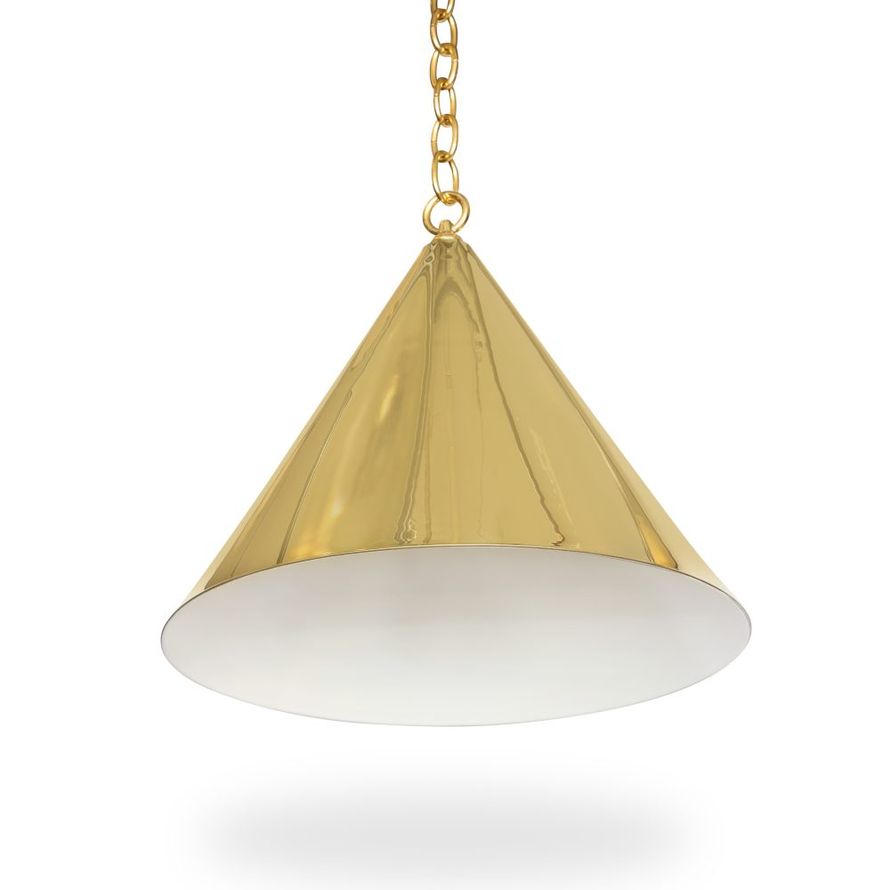 "Well Known 20"" Cone Light – Brass – Ann Morris – Custom Lighting For Moris 1 Light Cone Pendants (View 24 of 25)"