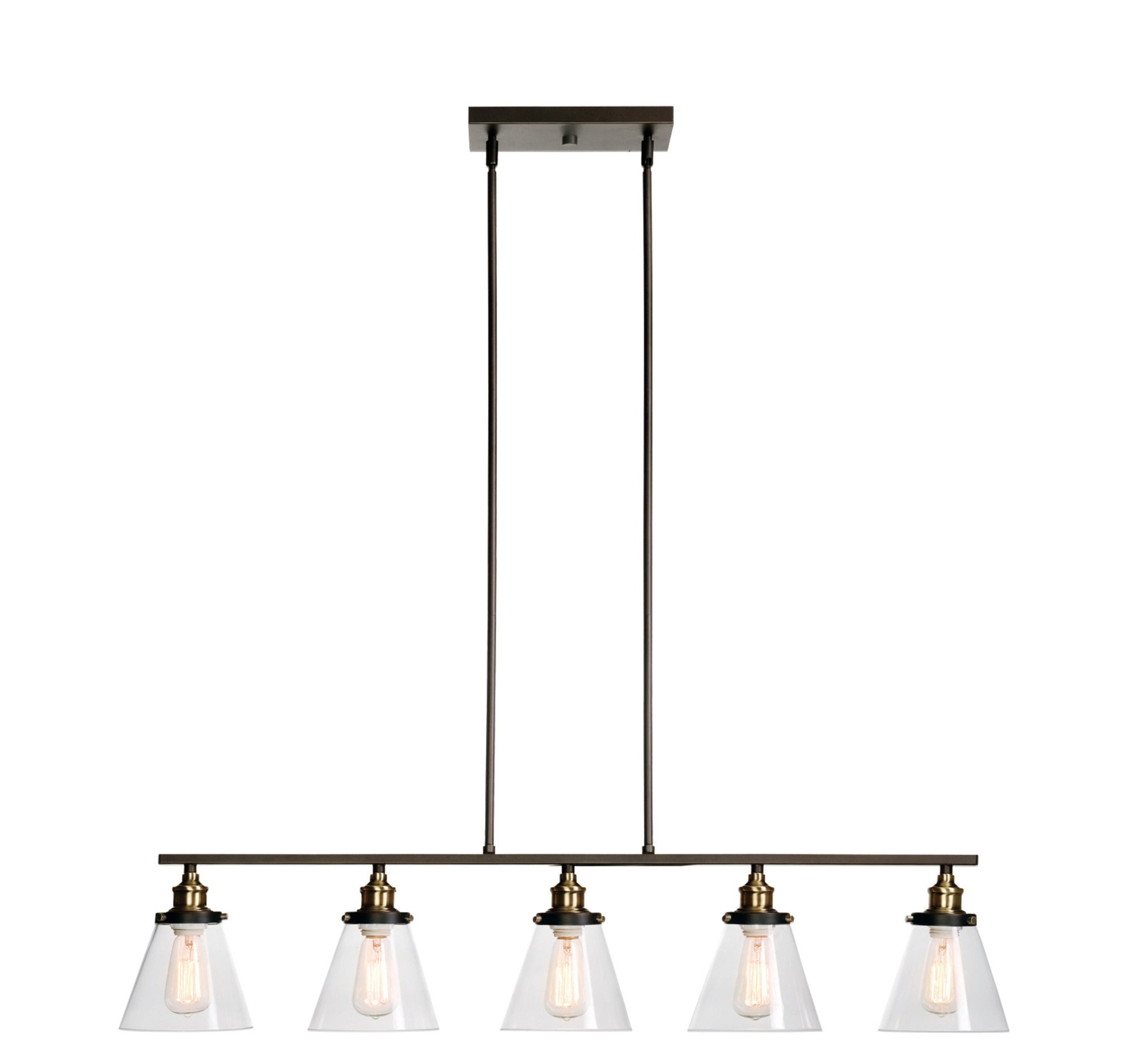 Well Known Abelia 5 Light Kitchen Island Linear Pendant Inside Cinchring 4 Light Kitchen Island Linear Pendants (View 25 of 25)