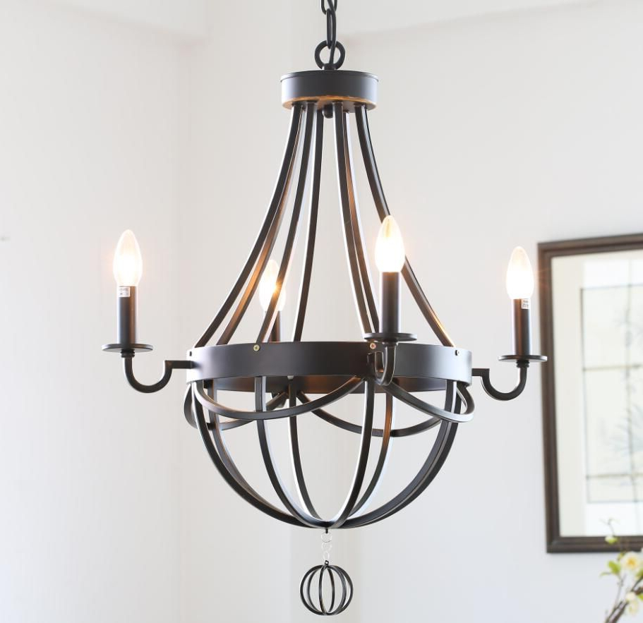 Well Known American Country Style Antique Wrought Iron Paint Chandelier In Newent 5 Light Shaded Chandeliers (View 9 of 25)