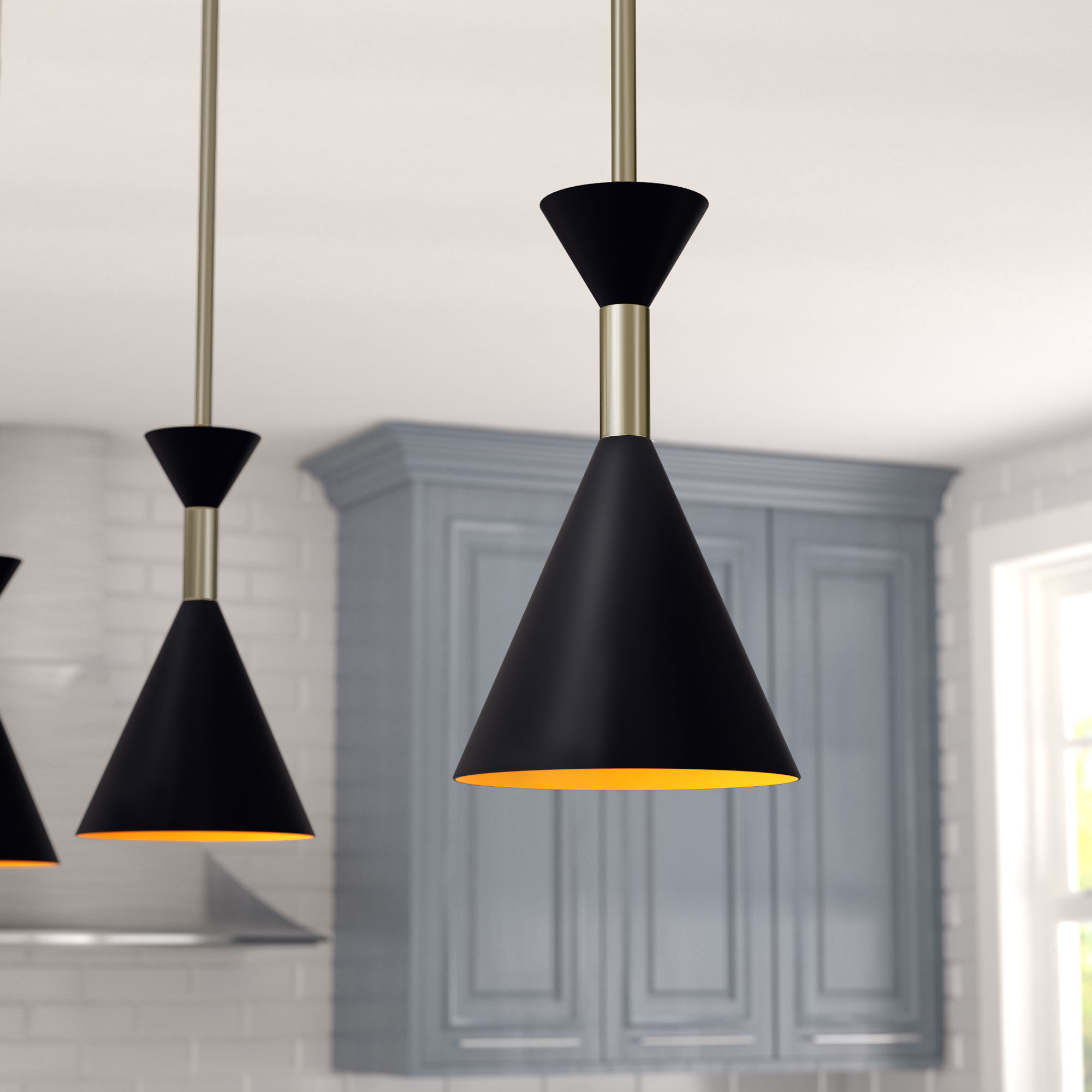 """Well Known Ammerman 1 Light Cone Pendants With Black Mini (Less Than 10"""" Wide) Pendant Lighting You'll Love (View 25 of 25)"""