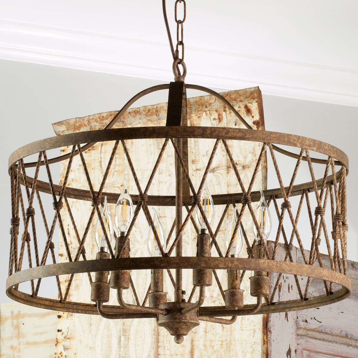 Well Known Check Out Faded Rustic Drum Cage Chandelier – 6 Light From Regarding Armande 4 Light Lantern Drum Pendants (View 14 of 25)
