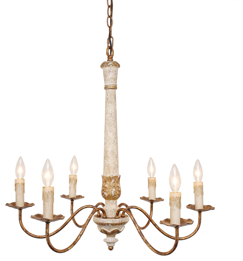 "Well Known Colette French Country Antique White Wood And Gold Chandelier, 27"" Within Silvia 6 Light Sputnik Chandeliers (View 23 of 25)"