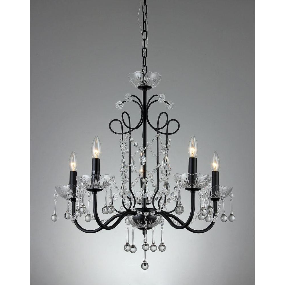 Well Known Donna 6 Light Globe Chandeliers Regarding Donna 5 Light Black Indoor Crystal Chandelier With Shade (View 22 of 25)