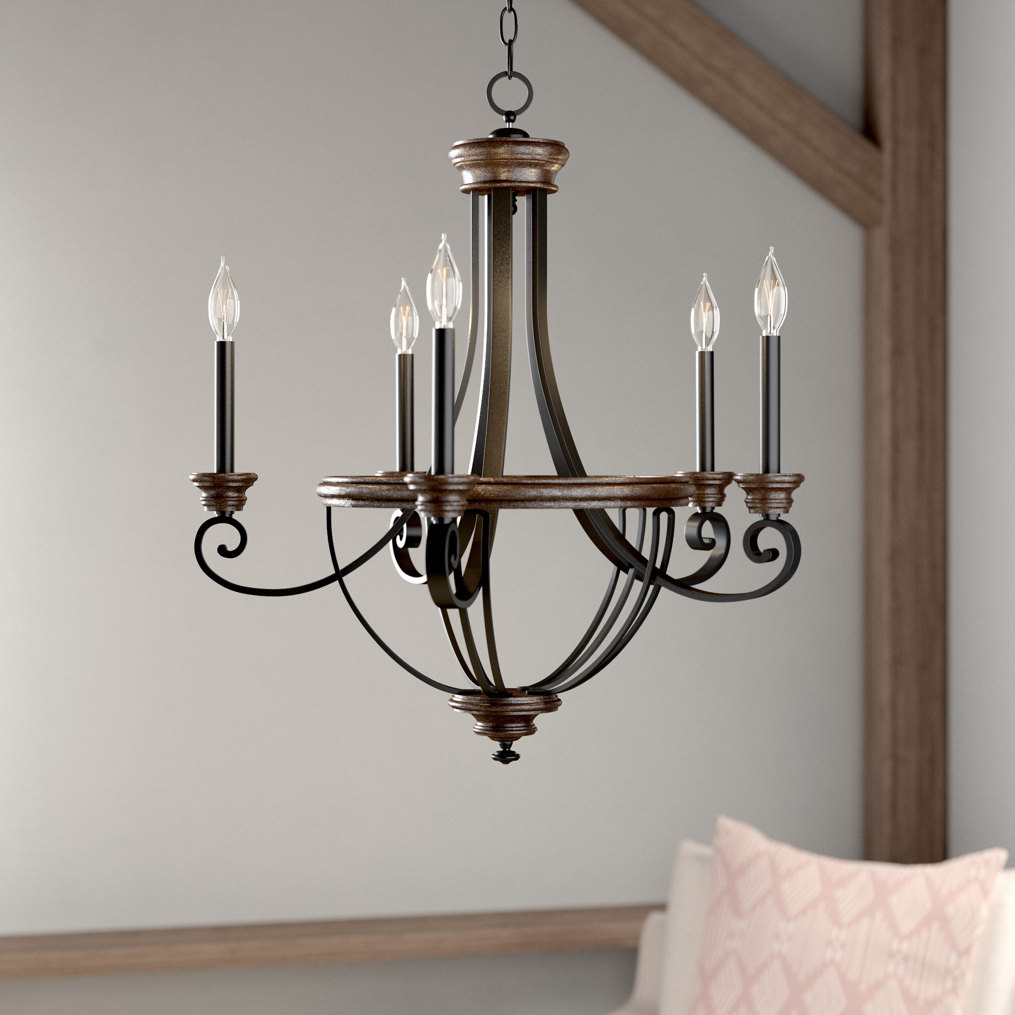 Well Known Giverny 9 Light Candle Style Chandeliers Throughout Nanteuil 5 Light Empire Chandelier (View 12 of 25)