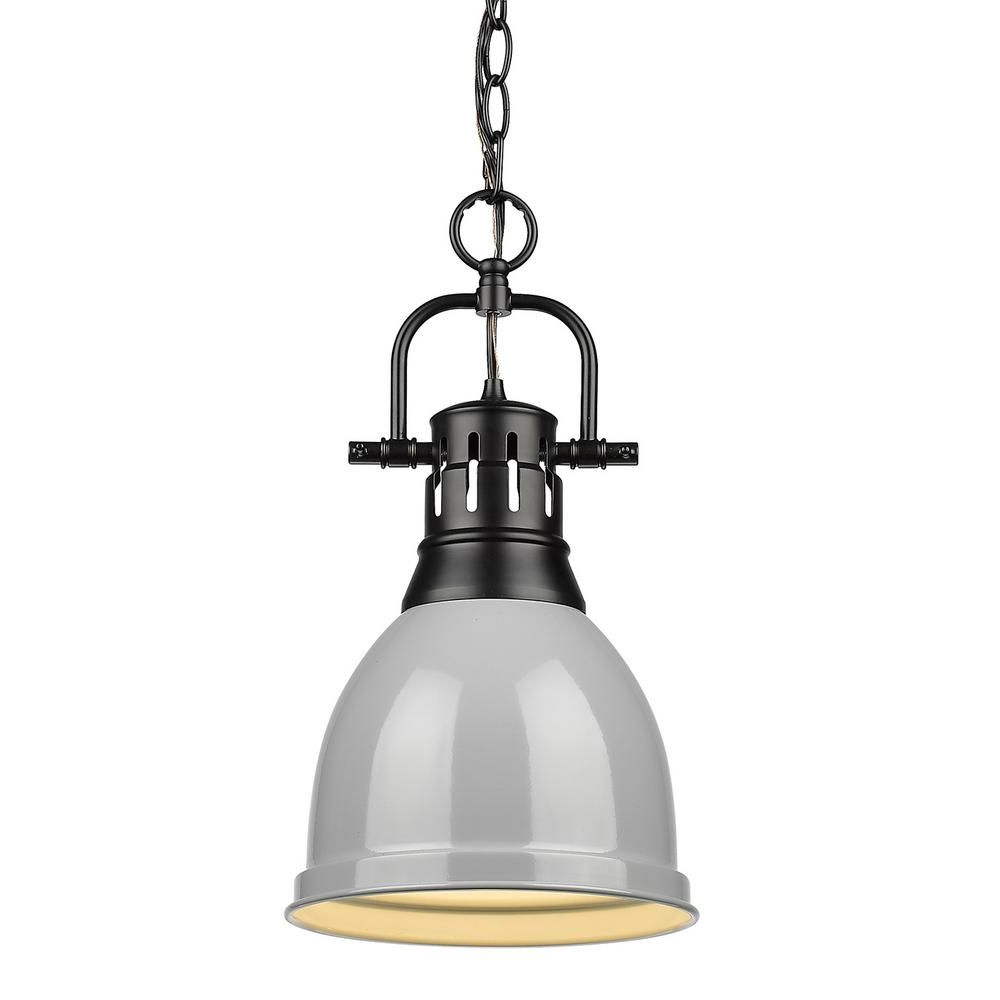 Well Known Golden Lighting Duncan 1 Light Black Pendant And Chain With In Houon 1 Light Cone Bell Pendants (View 11 of 25)