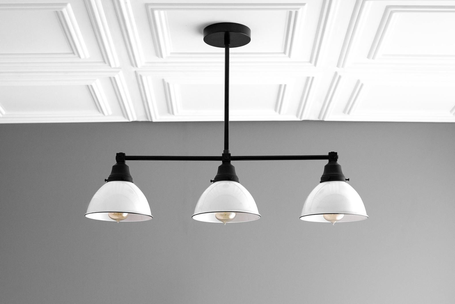 Well Known Granville 3 Light Single Dome Pendants Within Three Shade Island Pendant – White Bucket Chandelier (View 24 of 25)