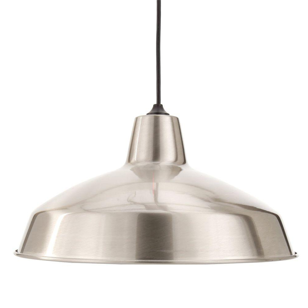 Well Known Hamilton 1 Light Single Dome Pendants Intended For Hampton Bay 1 Light Brushed Nickel Warehouse Pendant (View 19 of 25)