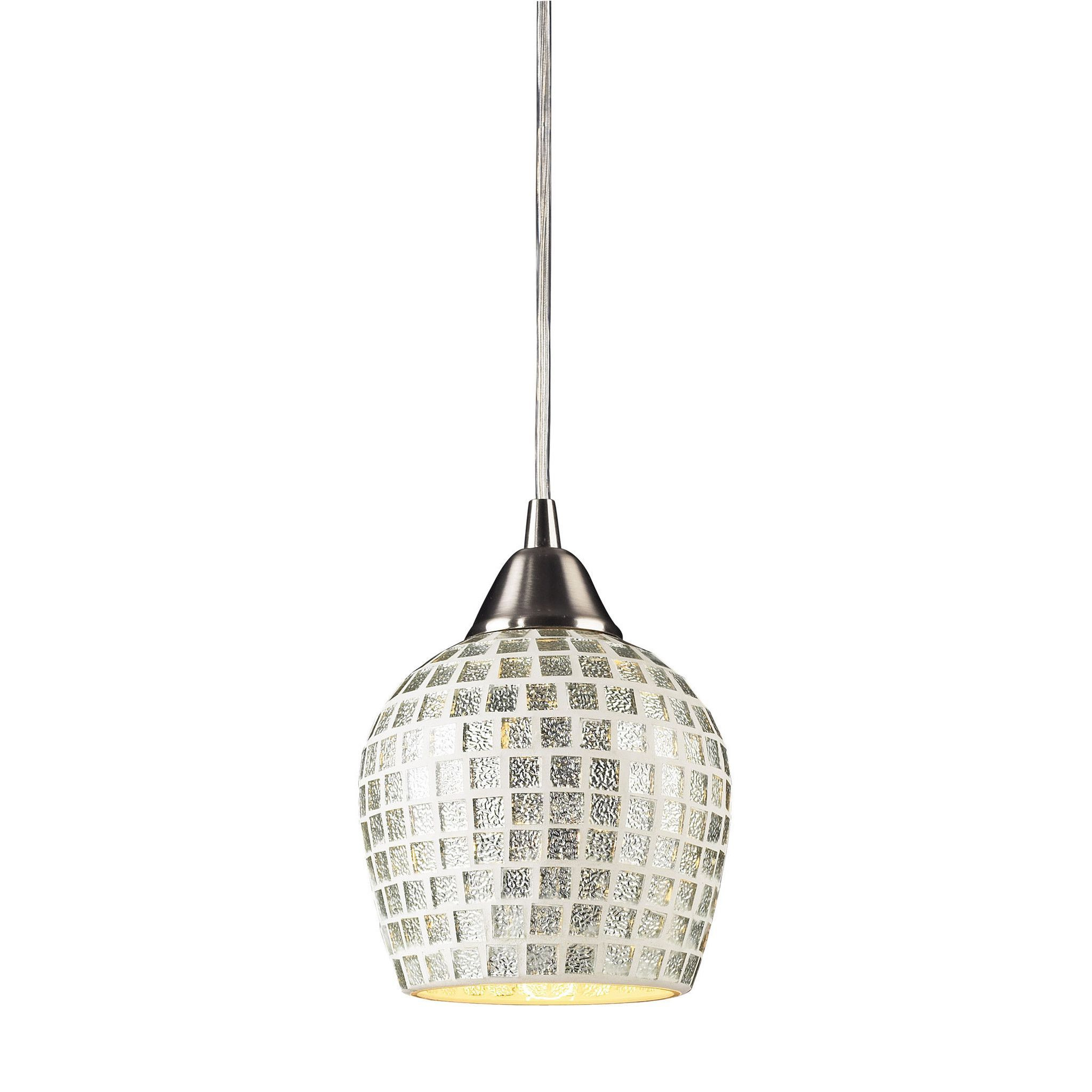 Well Known Hermione 1 Light Single Drum Pendants Throughout Fusion 1 Light Led Pendant In Satin Nickel And Silver Glass (View 16 of 25)