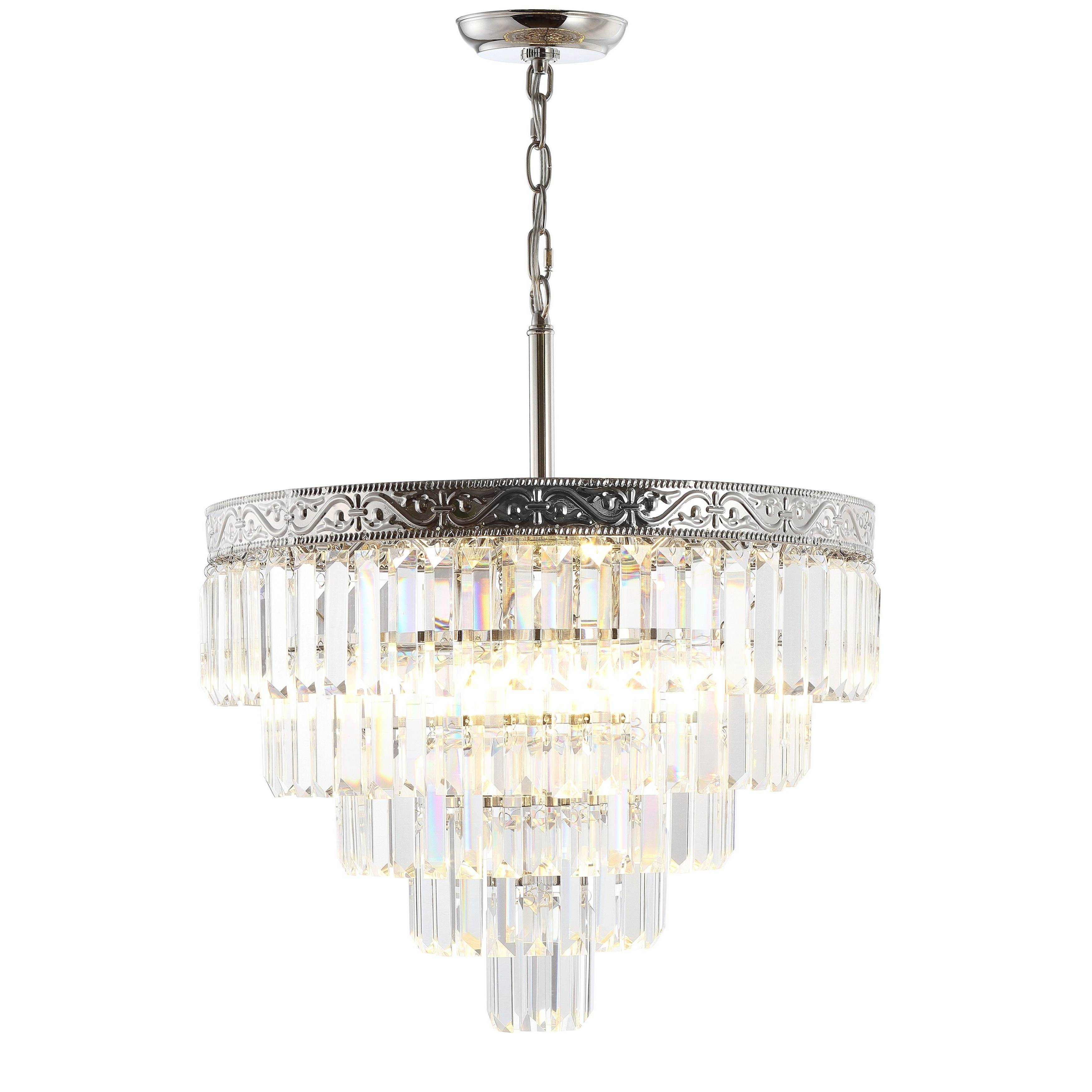 Well Known Jonathan Y Wyatt 20 4 Light Crystal Led Chandelier, Polished Within Abel 5 Light Drum Chandeliers (View 25 of 25)