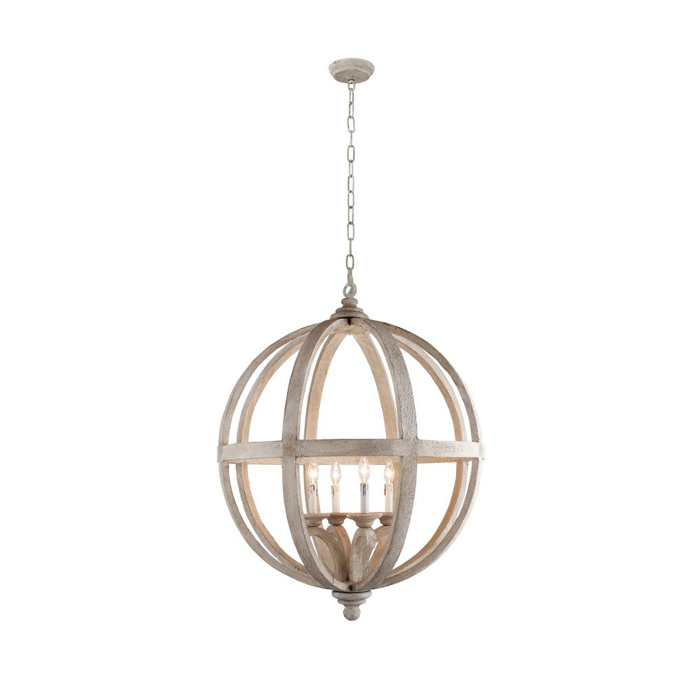 Well Known Joon 6 Light Globe Chandeliers Within Hercules 4 Light Brown Wood Globe Chandelier (View 17 of 25)