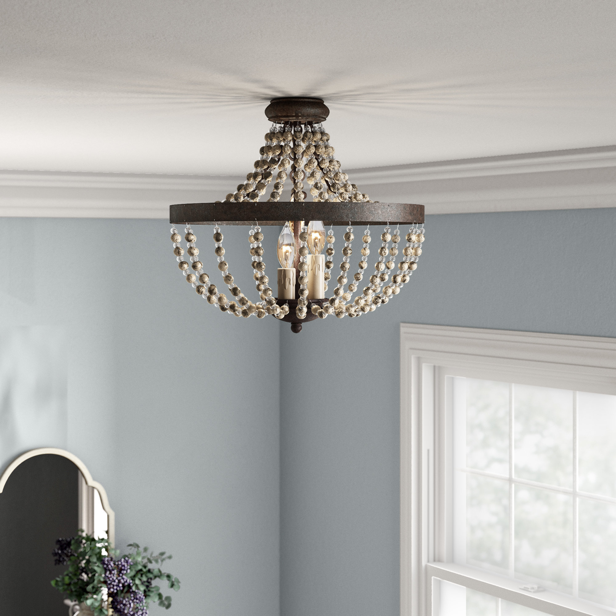 Well Known Lauri 3 Light Convertible Semi Flush Mount Throughout Ladonna 5 Light Novelty Chandeliers (View 25 of 25)
