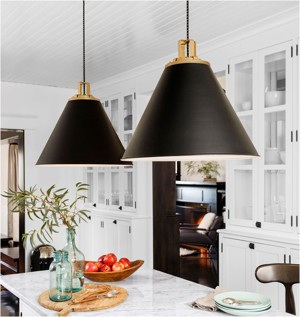 Well Known Nadeau 1 Light Single Cone Pendants With Regard To Large Black And Gold Pendant Lights Over White Marble (View 22 of 25)
