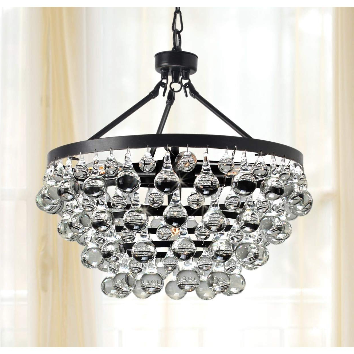 Well Known Verdell 5 Light Crystal Chandeliers Regarding Antique Black 5 Light Crystal Drop Chandelier (View 24 of 25)