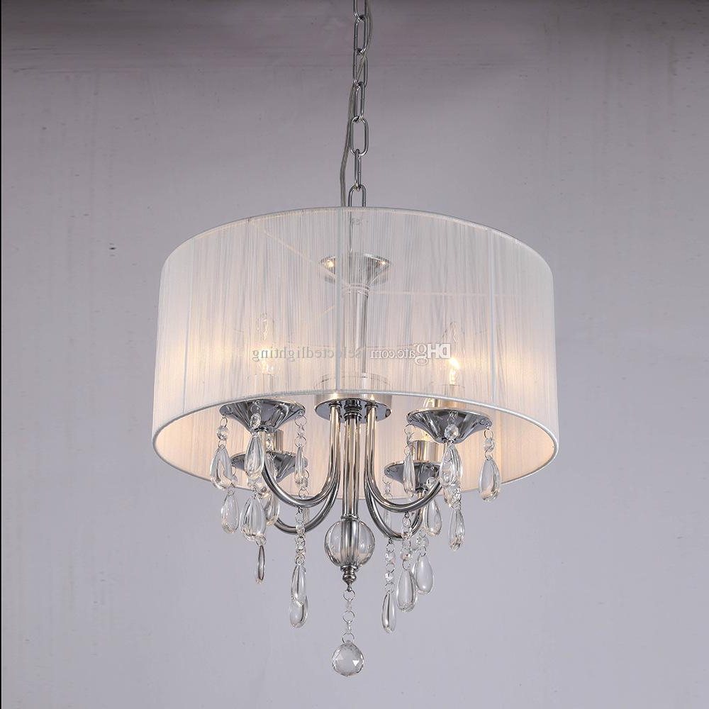 Well Known Vincent 5 Light Drum Chandeliers Pertaining To White Drum Shade Crystal Ceiling Chandelier Pendant Light Fixture Lighting  Lamp 6 Lights D.40 X H (View 14 of 25)