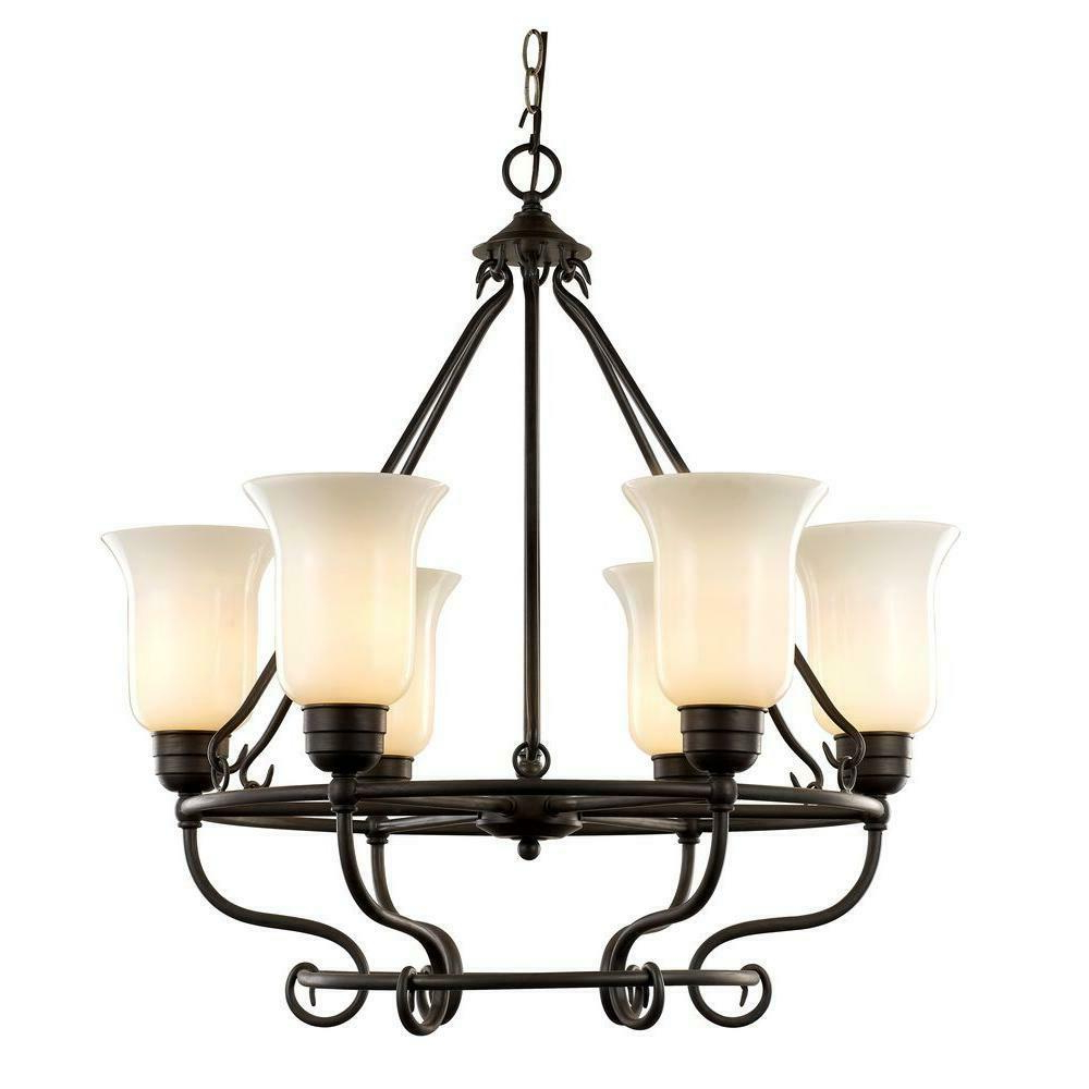 Well Liked 6 Light Dark Bronze Chandelier With Seeded Glass Intended For Newent 5 Light Shaded Chandeliers (View 19 of 25)