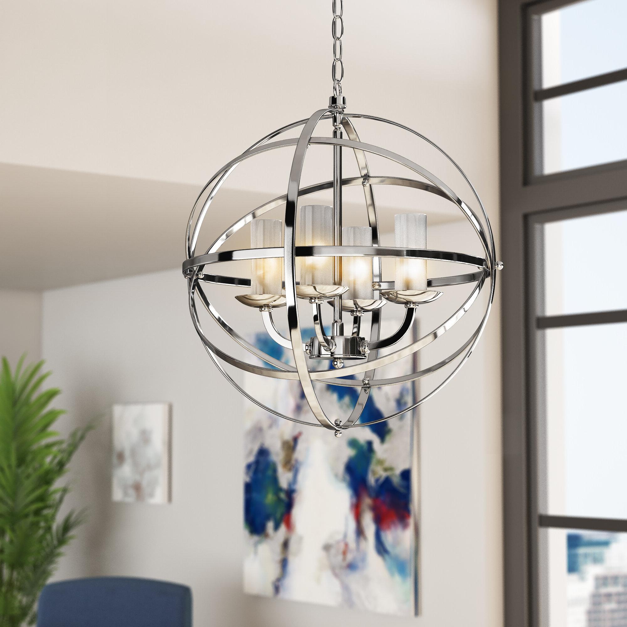 Well Liked Alden 3 Light Single Globe Pendants Intended For Connie 4 Light Single Globe Pendant (View 4 of 25)