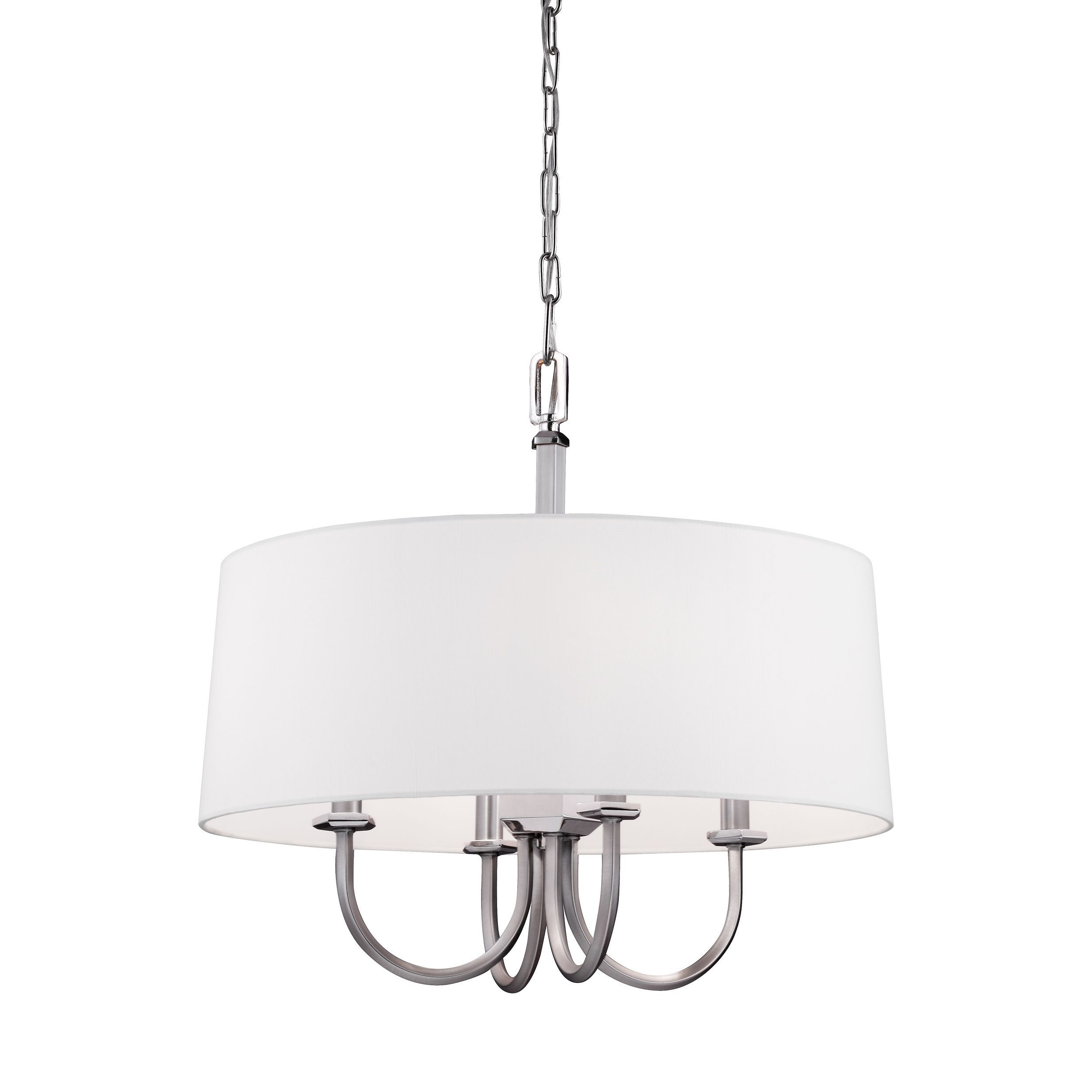 Well Liked Burton 5 Light Drum Chandeliers With Feiss Drum 4 Light Satin Nickel / Polished Nickel Chandelier (View 14 of 25)