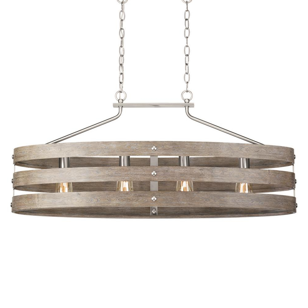 Well Liked Dailey 4 Light Drum Chandeliers Pertaining To Progress Lighting Gulliver 4 Light Galvanized Island Chandelier With  Weathered White Wood Accents (View 12 of 25)