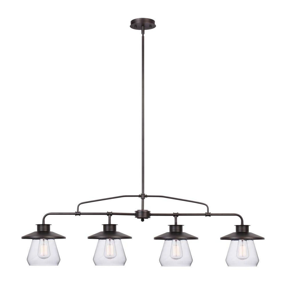 Well Liked Globe Electric 65382 Nate 4 Light Pendant, Oil Rubbed Bronze, Clear Glass  Shades With Regard To Angelina 1 Light Single Cylinder Pendants (View 24 of 25)