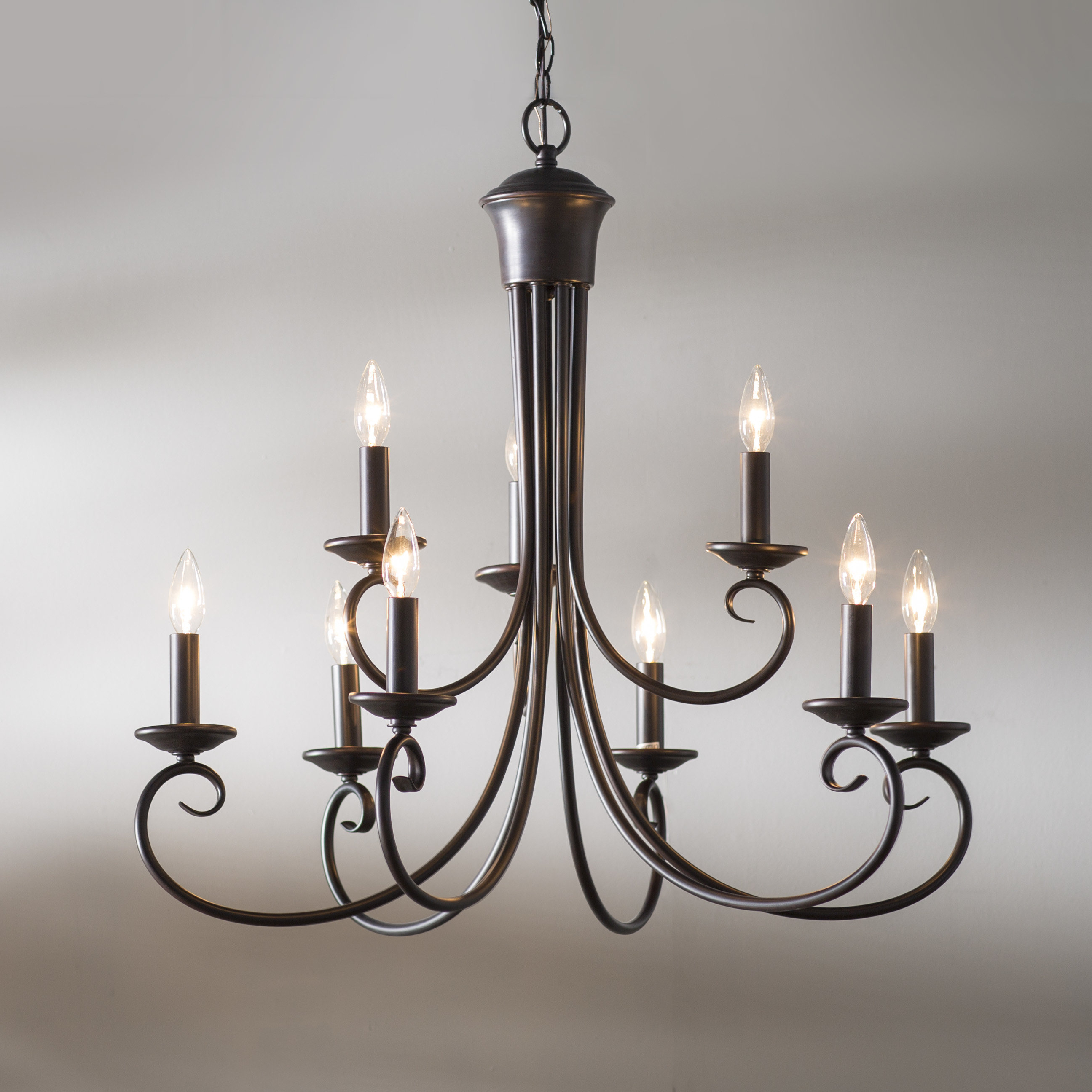 Well Liked Kenedy 9 Light Candle Style Chandelier With Gaines 9 Light Candle Style Chandeliers (View 24 of 25)