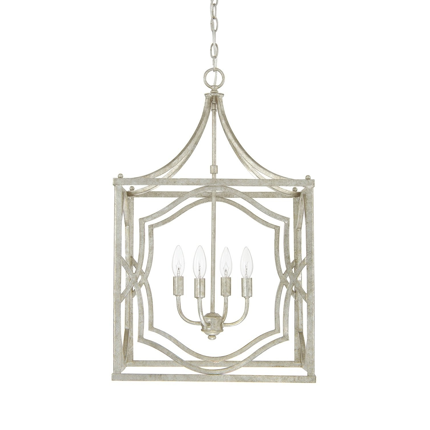 Well Liked Oriana 4 Light Single Geometric Chandeliers Regarding Blakely 4 Light Antique Silver Foyer Fixture – Antique (View 25 of 25)