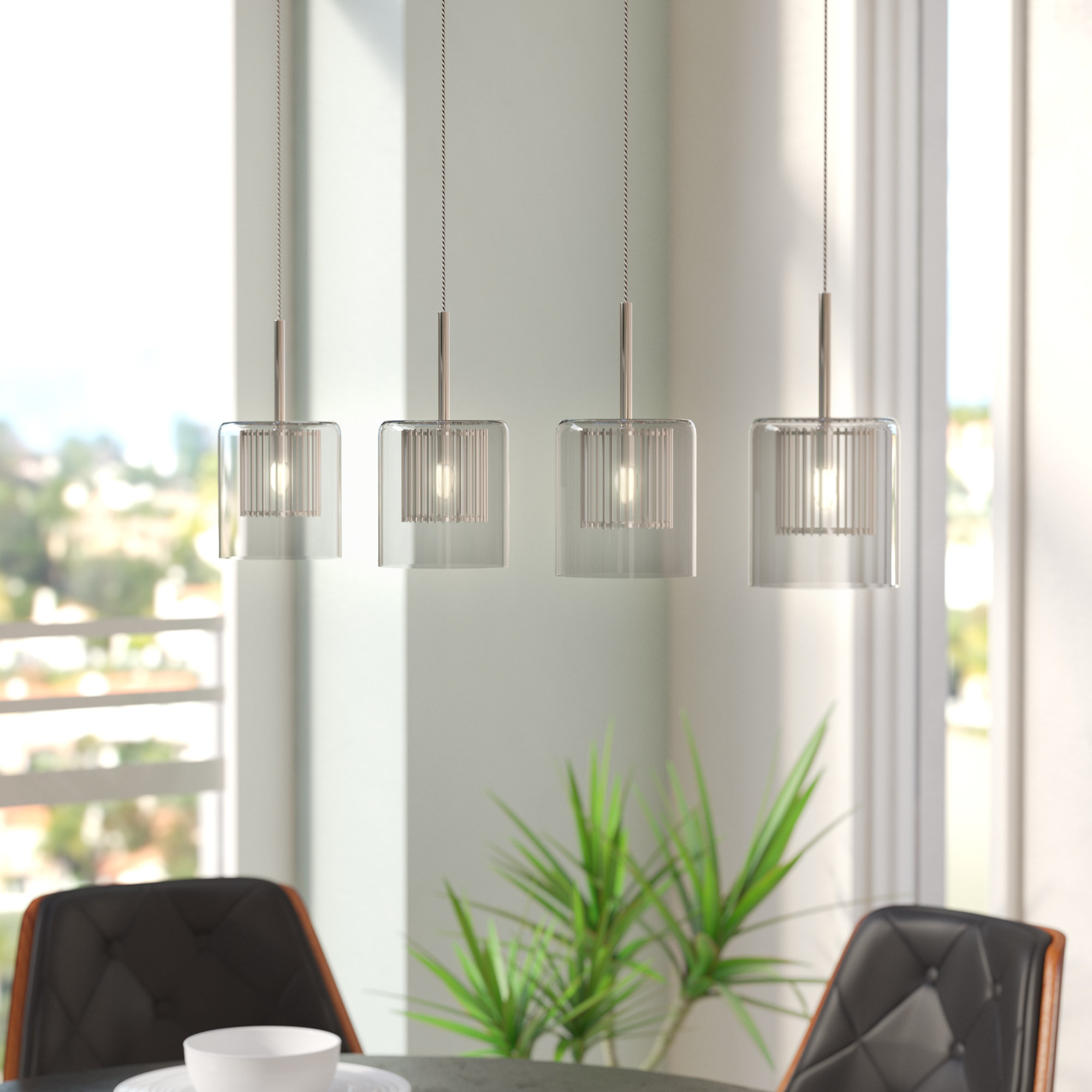 Well Liked Sousa 4 Light Kitchen Island Linear Pendants Pertaining To Cephas 4 Light Kitchen Island Linear Pendant (View 7 of 25)