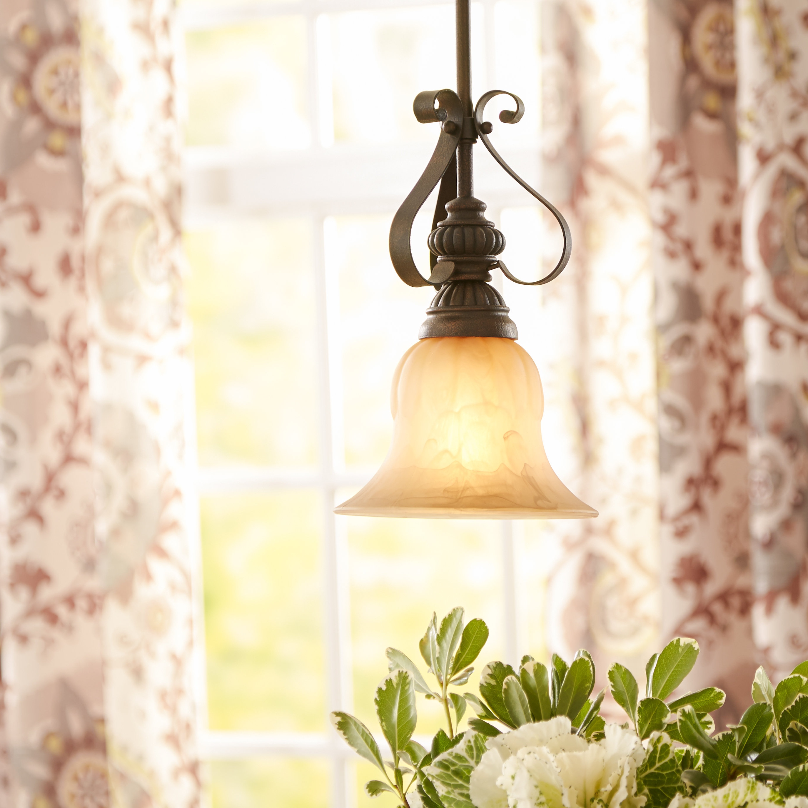 Well Liked Van Horne 3 Light Single Teardrop Pendants With Grullon Scroll 1 Light Single Bell Pendant (View 23 of 25)