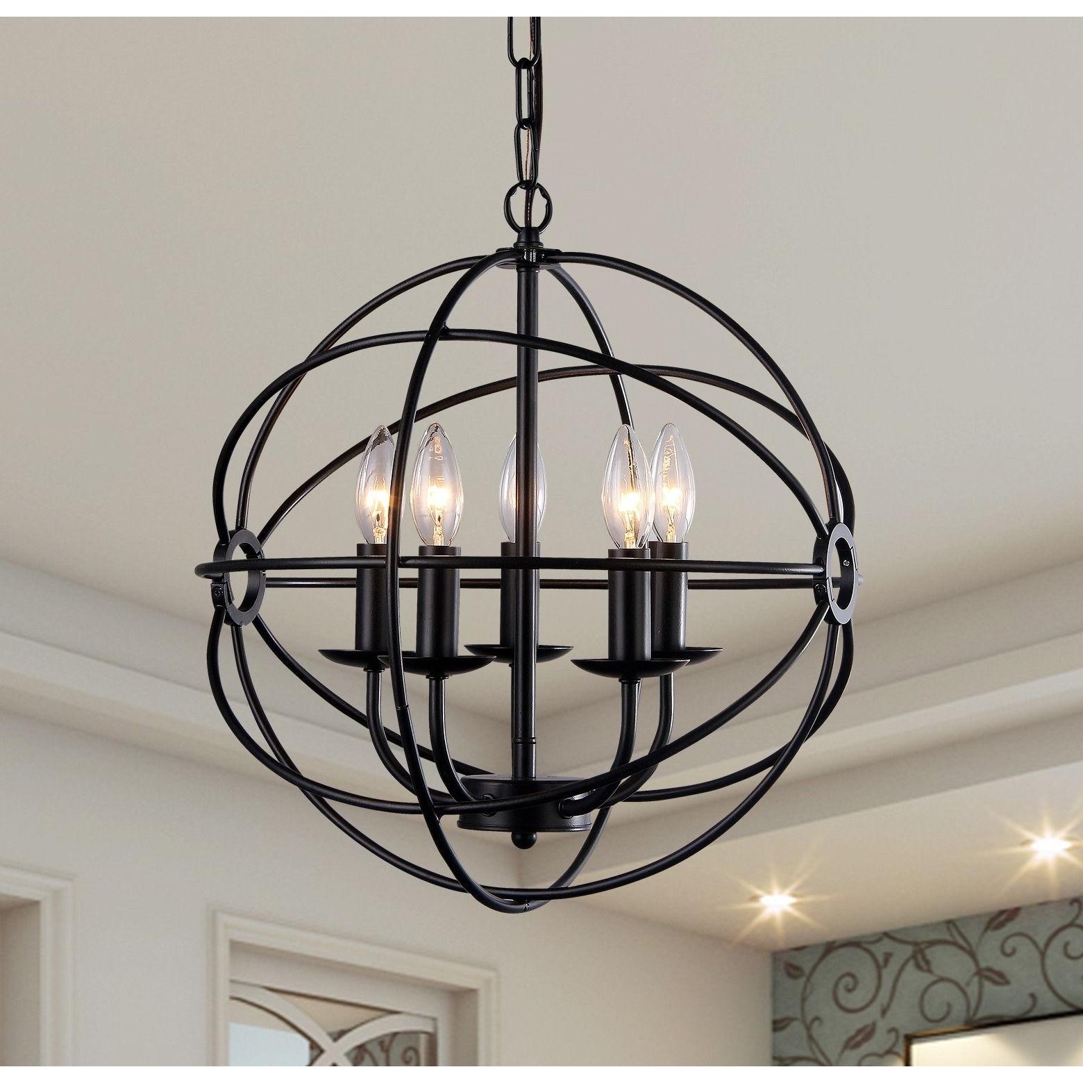 Well Liked Verlene Foyer 5 Light Globe Chandeliers In Warehouse Of Tiffany Meila 5 Light Black 16 Inch Spherical (View 7 of 25)