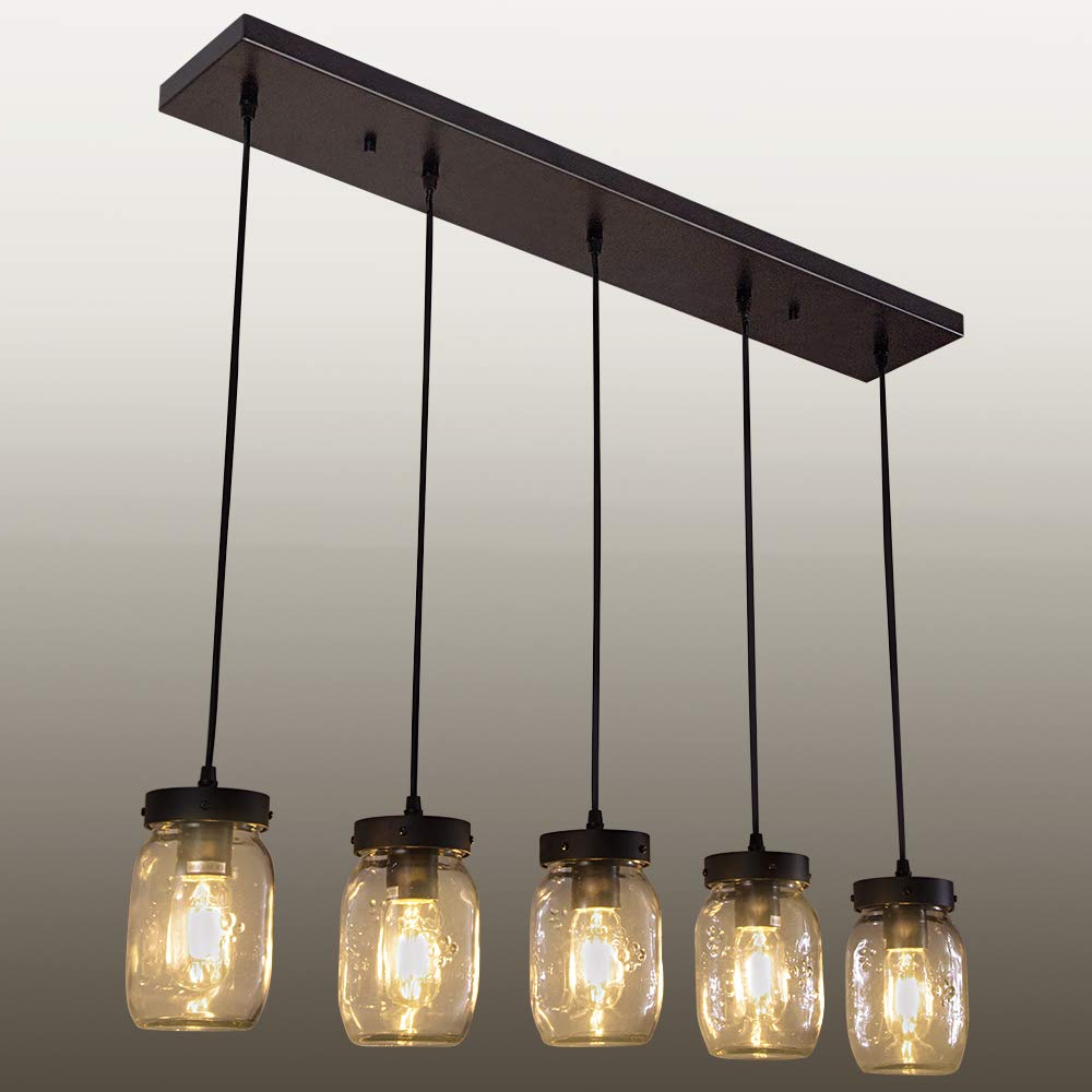 Wellmet Farmhouse Glass Mason Jar Chandelier,5 Light Rustic Kitchen Island Bar Pendant Ceiling Light Vintage Lighting Fixture With Wires Adjustable In Widely Used Sue 1 Light Single Jar Pendants (View 14 of 25)